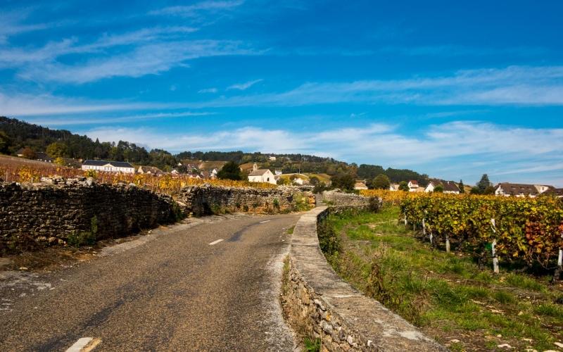 Paßt nicht zum edlen tiefergelegten Gefährt und ist daher ungefährdet zu bewandern: Landstraße in der Nähe von Volnay.