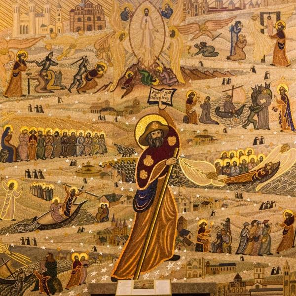 Jakobus ist in der Kirche ein riesiges Mosaik gewidmet.