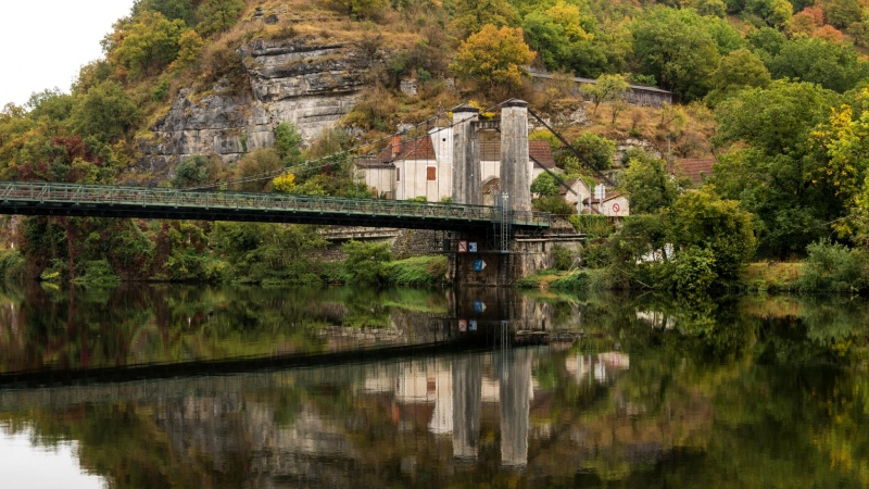Cajarc: Morgenstimmung an der Brücke