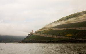 Jakobsweg Bingen: Burg Ehrenfels im Morgendunst Panorama