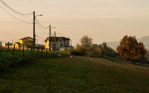 Jakobsweg Contrexeville Aussiedlerhof in der Morgensonne