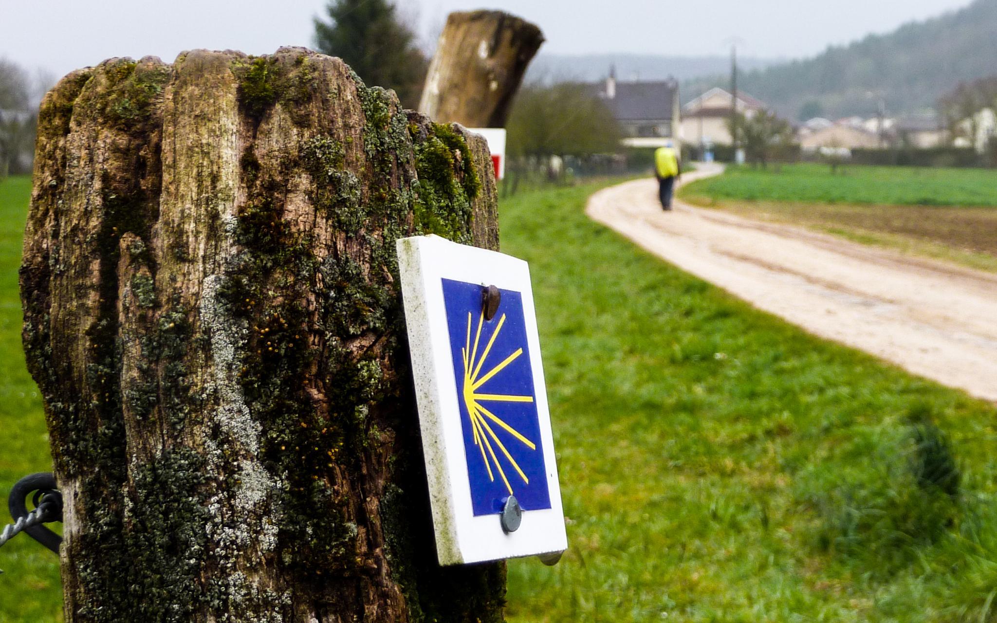 Jakobsweg Taillancourt Wegweiser am Zaunpfahl