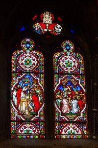 Jakobsweg Beaune Kirche Fenster Abendmahl