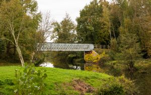 Jakobsweg Cormatin Stahlbrücke über die Grosne Totale