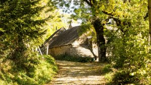 Jakobsweg Aubrac Haus im Wald nahe Saint Chély