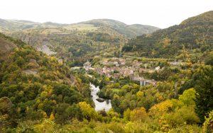 Jakobsweg Blick über Monistrol d'Allier